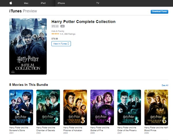 Harry Potter Movies on ITUNES